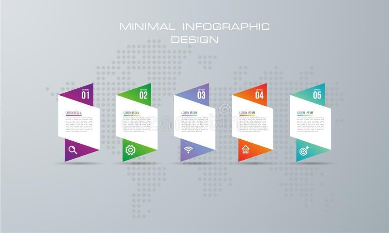 Abstrakt 3D cyfrowy ilustracyjny Infographic z 5 opcją ilustracja wektor