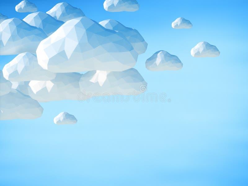 Abstrakt 3D fördunklar på bakgrund för blå himmel vektor illustrationer