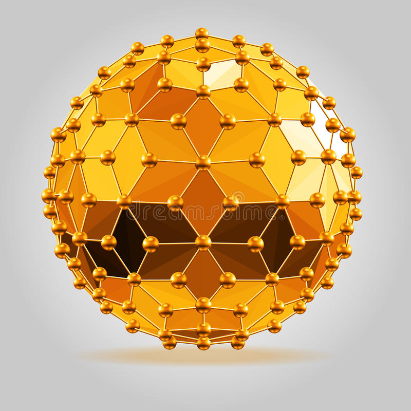 Abstrakt 3d faceted piłka z sfera związkami wykłada ilustracja wektor
