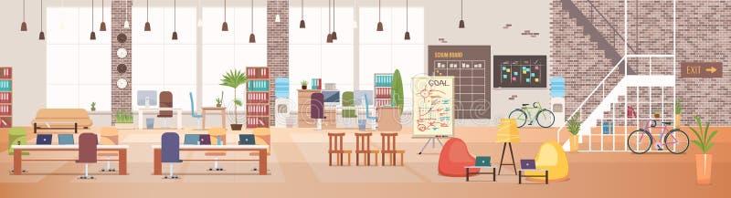 Abstrakt 3d framförde inomhus utrymme Coworking Workspace vektor stock illustrationer
