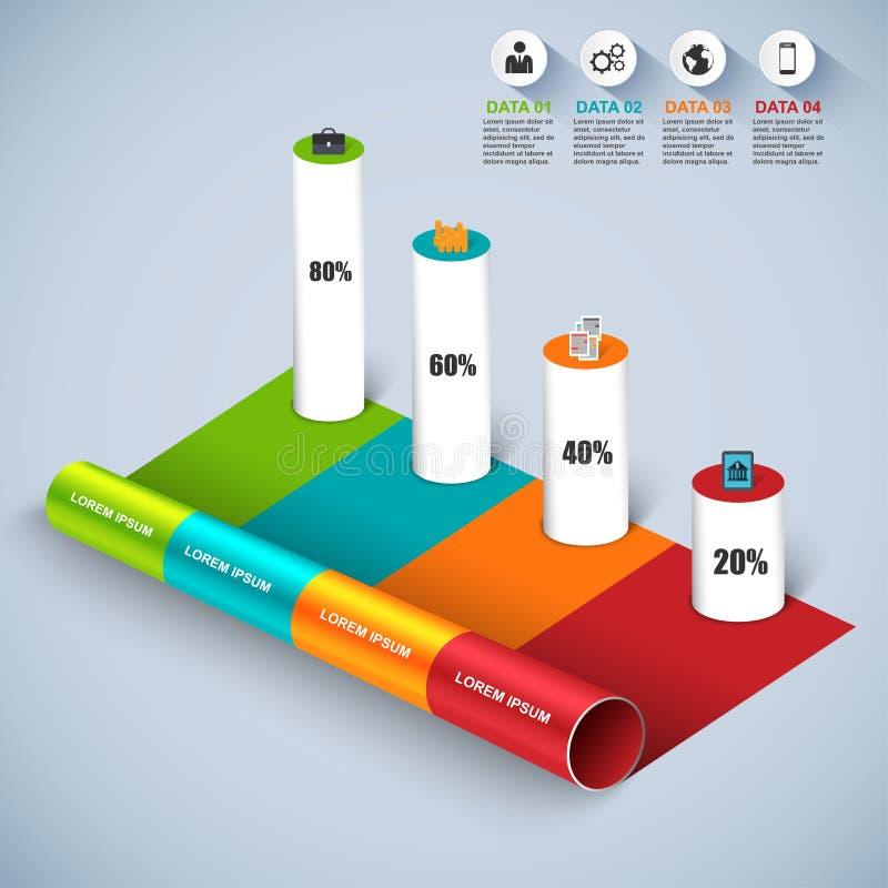 Abstrakt 3D isometrisk affär Infographic vektor illustrationer