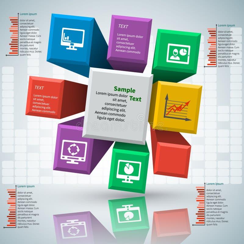 Abstrakt 3D papper Infographics stock illustrationer