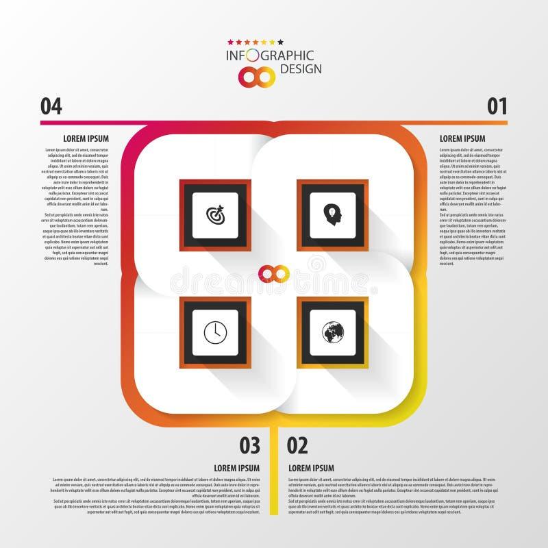 Abstrakt 3D papper Infographics modern mall för design royaltyfri illustrationer