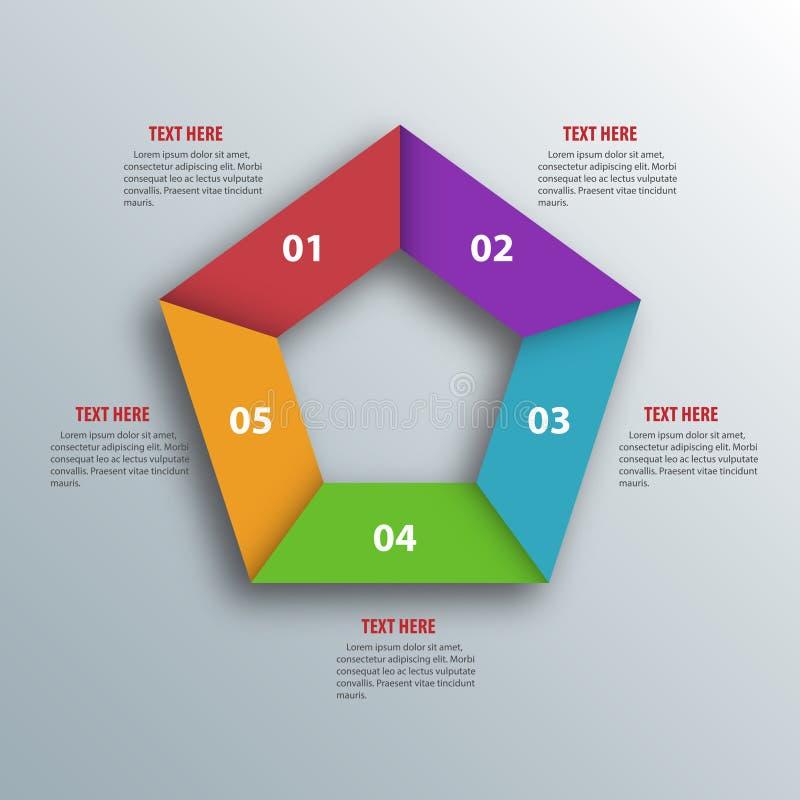 Abstrakt 3D papper Infographics Pentagonform Vektorillustrat royaltyfri illustrationer