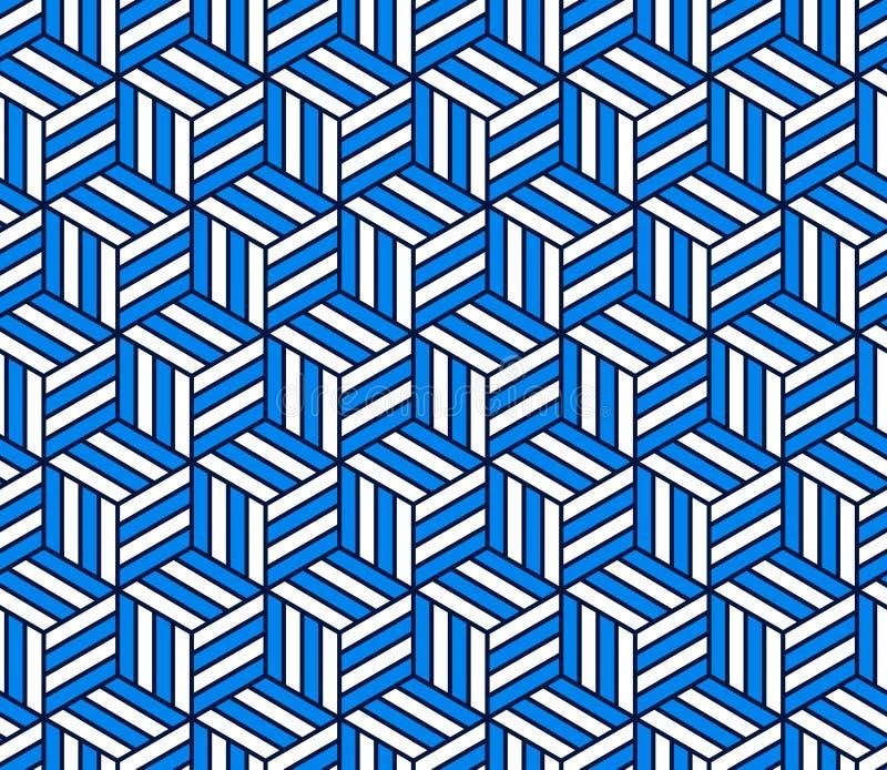 Abstrakt 3d paskował sześcianu geometrycznego bezszwowego wzór w błękitnym i bielu, wektor ilustracji