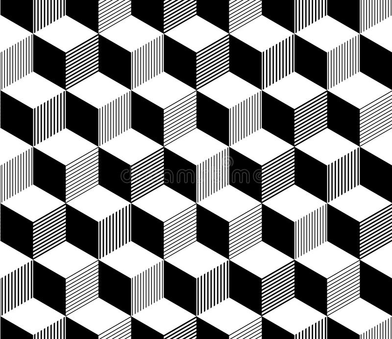 Abstrakt 3d paskował sześcianu geometrycznego bezszwowego wzór w czarny i biały, wektor ilustracji