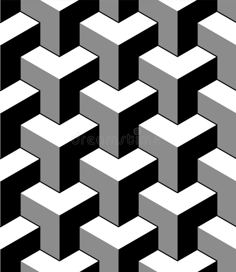Abstrakt 3d skära i tärningar den geometriska sömlösa modellen i svartvitt, vektor vektor illustrationer