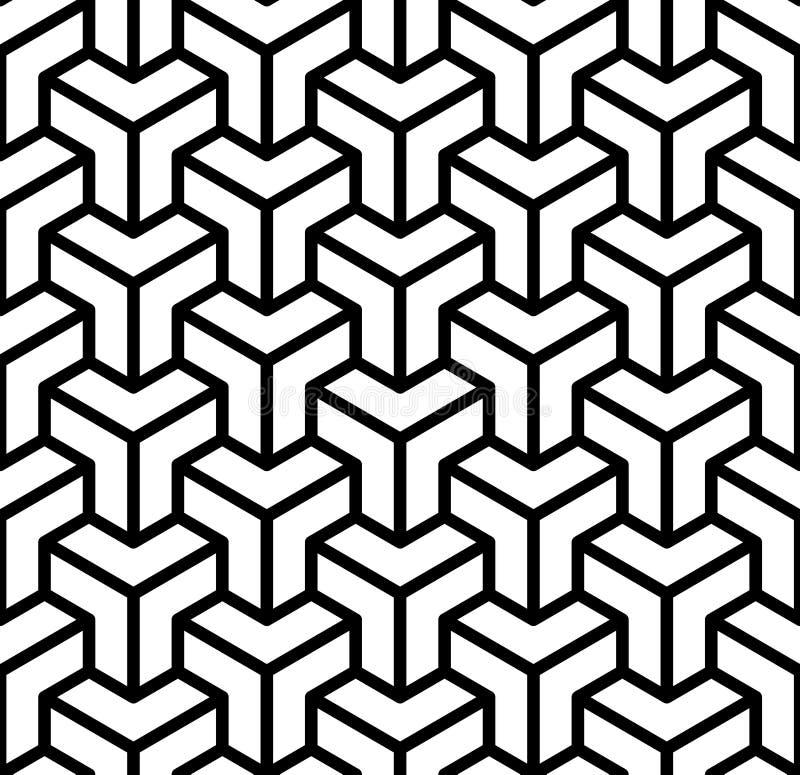 Abstrakt 3d skära i tärningar den geometriska sömlösa modellen i svartvitt, vektor stock illustrationer