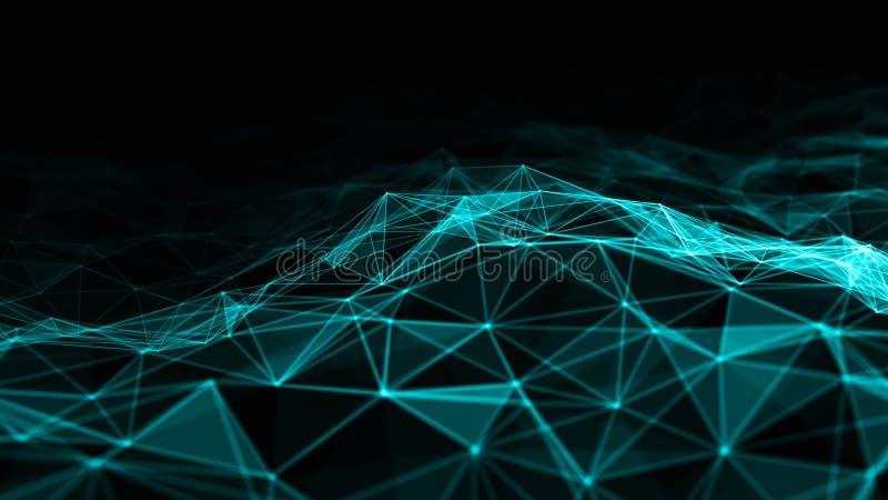 Abstrakt 3d som framför futuristiska prickar och linjer geometrisk digital anslutningsstruktur för dator Plexus med partiklar vektor illustrationer