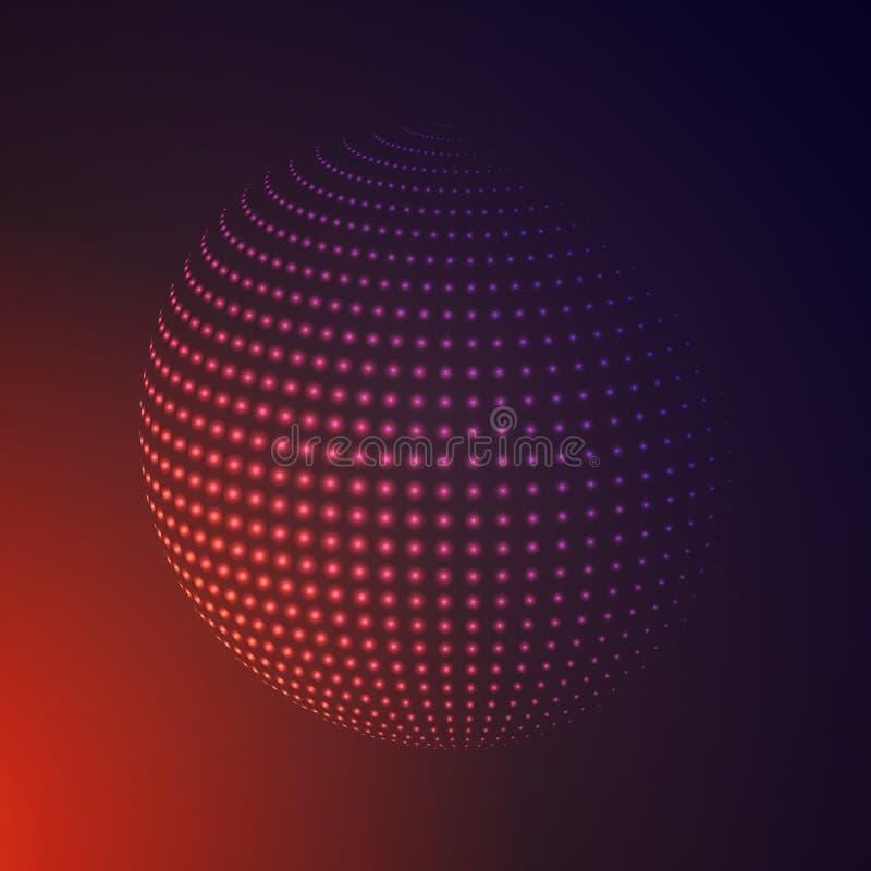 Abstrakt 3D upplyst rastrerad sfär, glödande partiklar Slag stock illustrationer