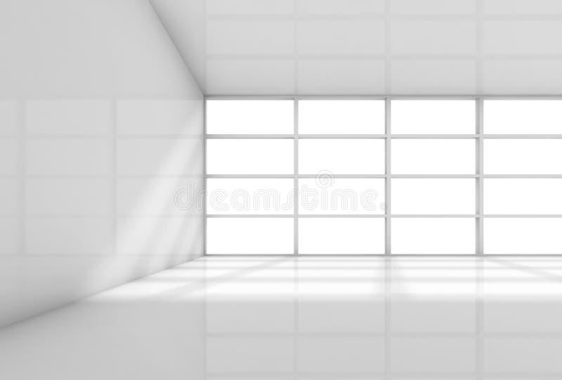 Abstrakt 3d vit inre, tomt kontorsrum stock illustrationer