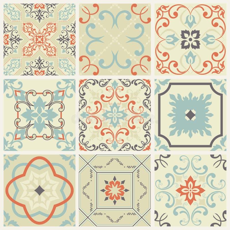 Abstrakt damastmodelluppsättning av nio som är sömlösa i retro stil för designbruk också vektor för coreldrawillustration royaltyfri illustrationer