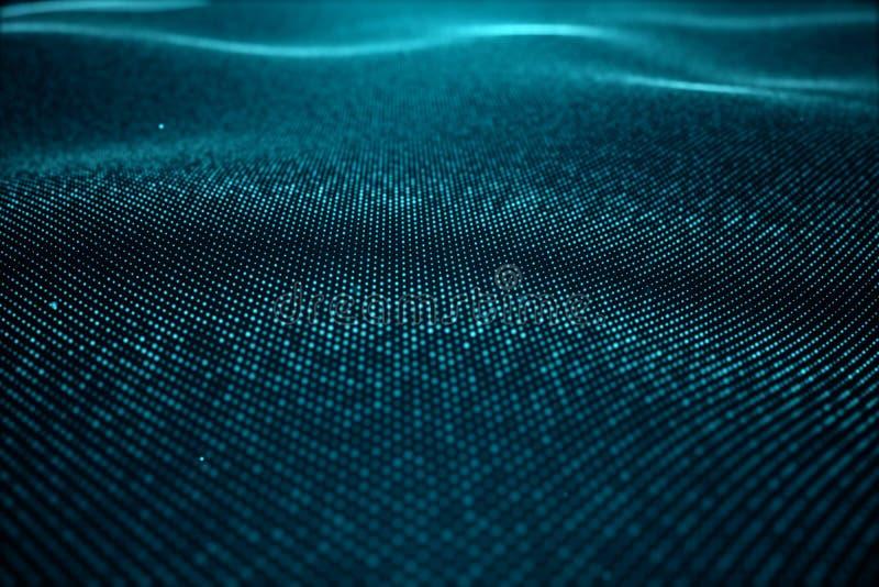 Abstrakt datateknologi Digital landskap med partiklar, prickar Cyberspaceteknologi Krabb yttersida som består av arkivbild