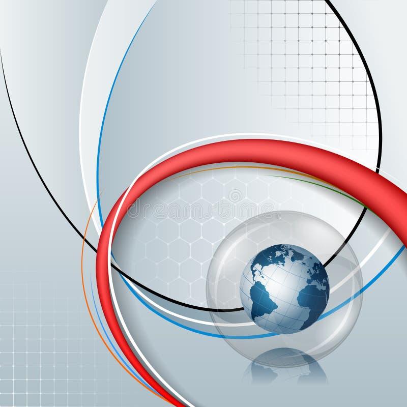 Abstrakt datordiagram av jordjordklotet inom den glass sfären på linjär abstrakt design stock illustrationer