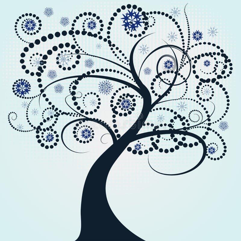 abstrakt de tree vektorvinter stock illustrationer
