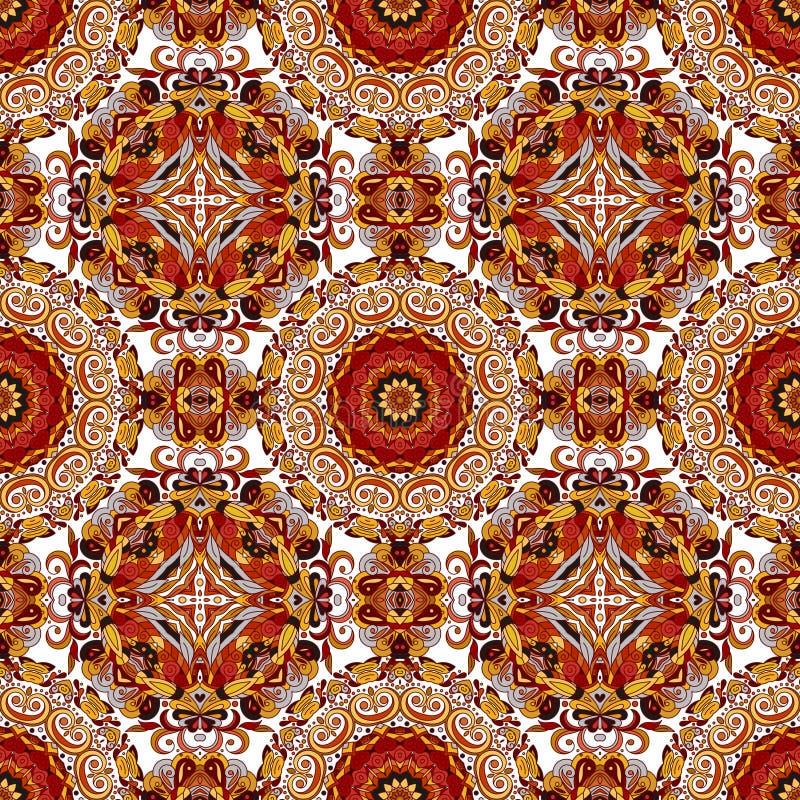 Abstrakt dekorativ etnisk blom- färgrik sömlös modell royaltyfria bilder