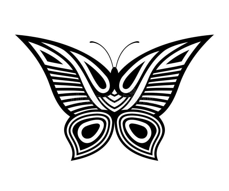 Abstrakt dekorativ fjärilsillustration som isoleras på vit bakgrund royaltyfri illustrationer