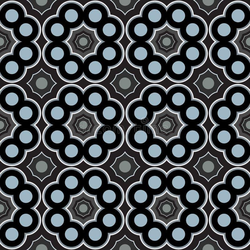 Abstrakt dekorativ geometrisk sömlös modell av för grå färger och vita skuggor för blått, för svart, royaltyfri illustrationer