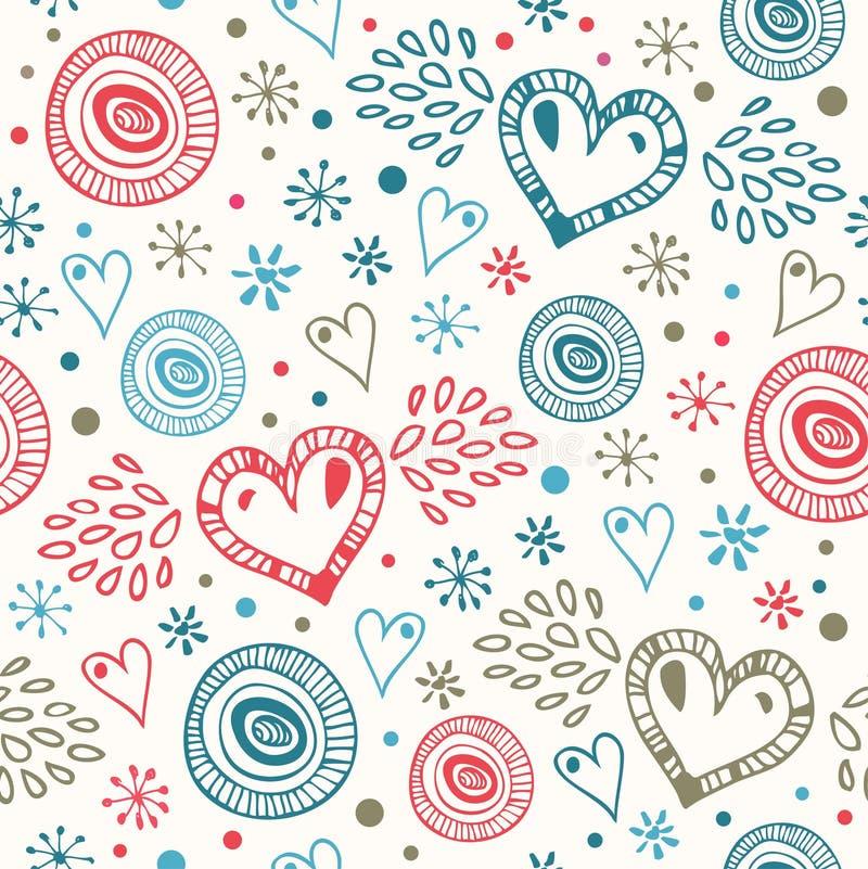 Abstrakt dekorativ sömlös bakgrund med klipska hjärtor Ändlös klottermodell royaltyfri illustrationer