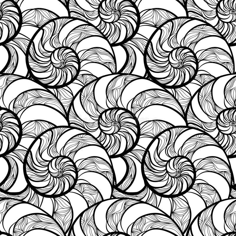 Abstrakt dekorativ spiral sömlös svartvit översiktspatt stock illustrationer