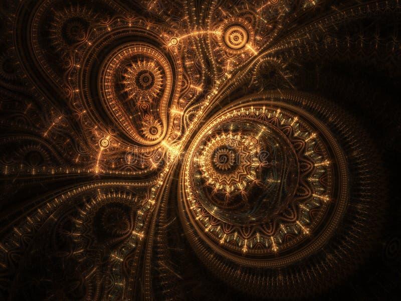 Abstrakt design av steampunkklockan royaltyfri illustrationer