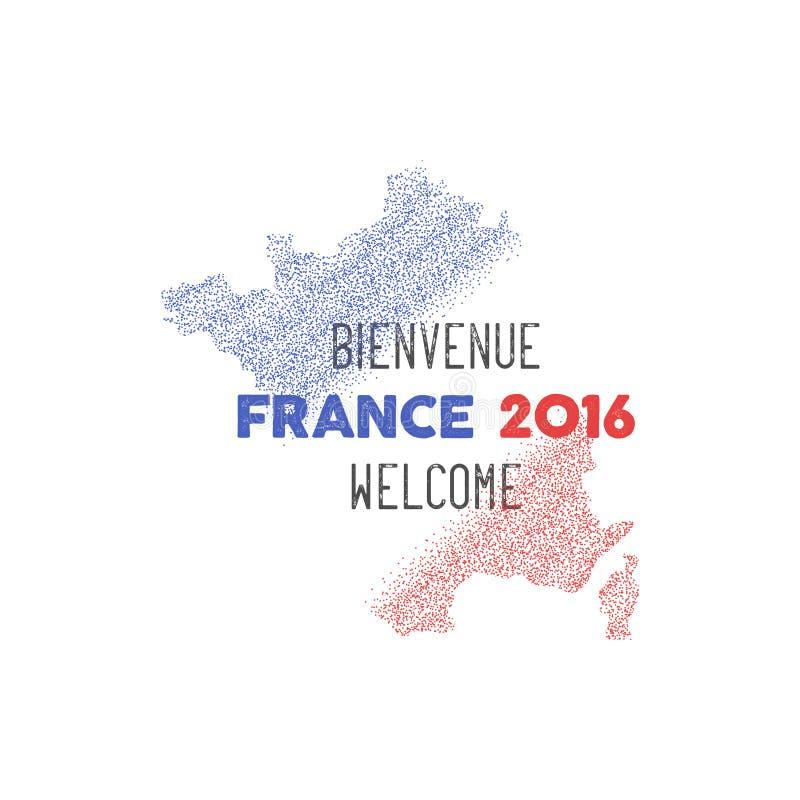 Abstrakt design för Frankrike euromästerskap 2016 fotboll tre för bakgrundsbanerdesign dig Den isolerade Frankrike översikten med royaltyfri illustrationer