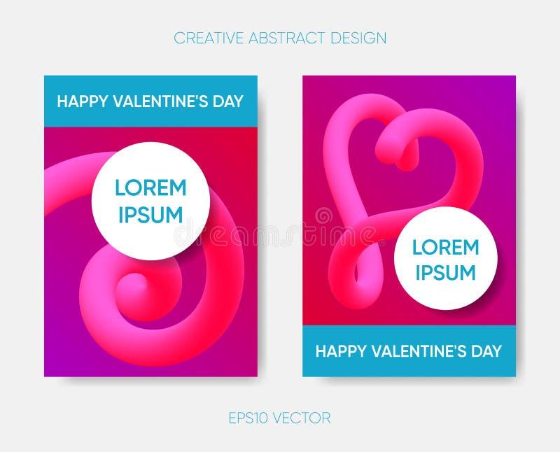 Abstrakt design för lycklig valentin med vätskeformer royaltyfri illustrationer