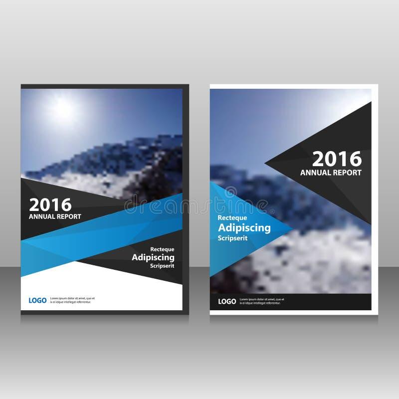 Abstrakt design för mall för reklamblad för broschyr för broschyr för svartblåttårsrapport, bokomslagorienteringsdesign vektor illustrationer