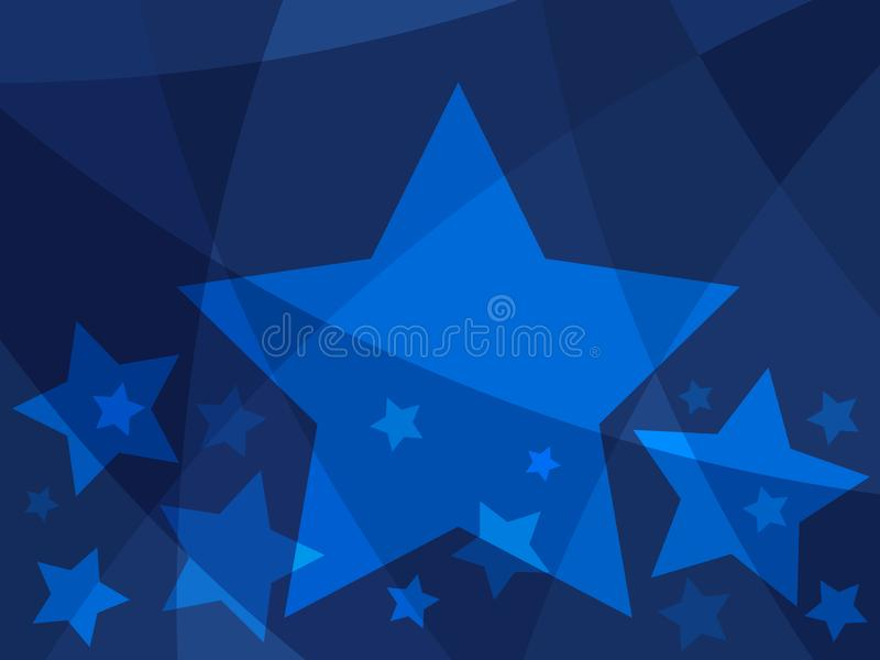 Abstrakt design för stjärna med blåa stjärnor på en modern idérik bakgrund stock illustrationer