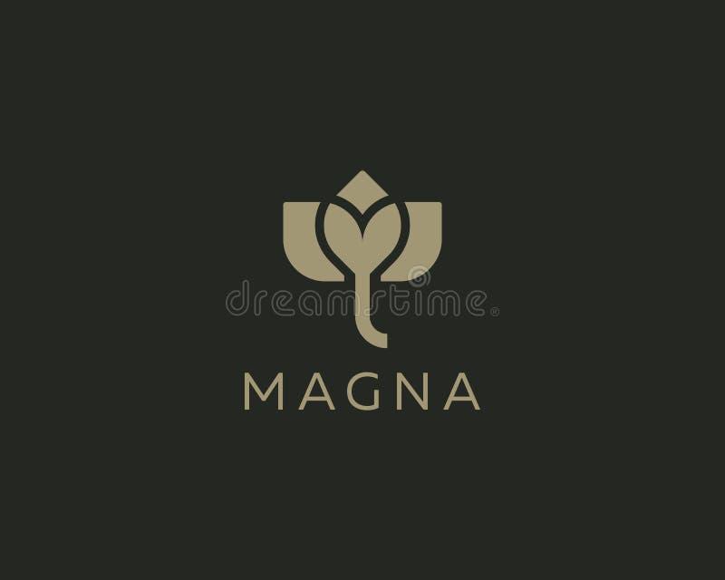 Abstrakt design för symbol för blommaelefantlogo Elegant lotusblommavektorlogotyp vektor illustrationer