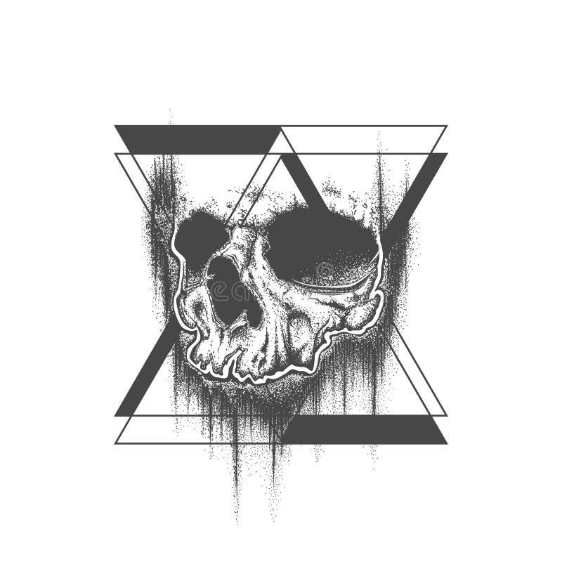 Abstrakt design för tatuering för skalle för prickarbetsgrunge royaltyfri illustrationer
