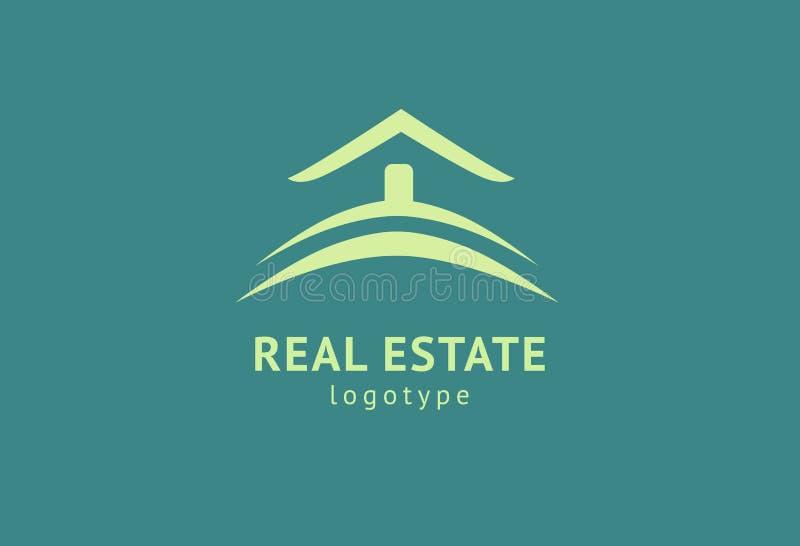 Abstrakt design f?r vektor f?r fastighetsm?klarelogosymbol Hyra försäljning av fastighetvektorlogoen, huslokalvård, hem- säkerhet royaltyfri illustrationer