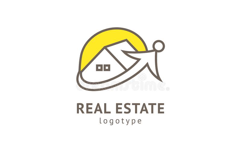 Abstrakt design f?r vektor f?r fastighetsm?klarelogosymbol Hyra f?rs?ljning av fastighetvektorlogoen, huslokalv?rd, hem- s?kerhet royaltyfri illustrationer