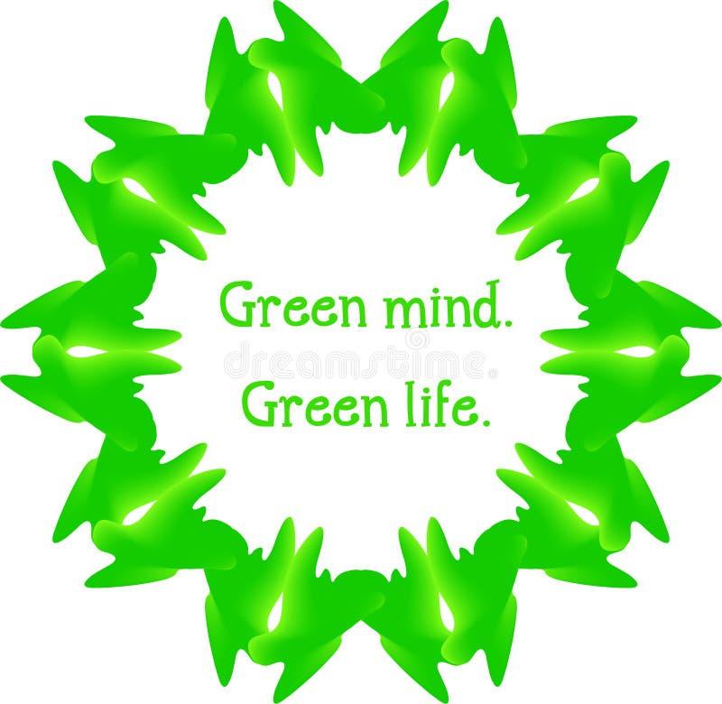 Abstrakt design i gröna färger Miljö- motiv royaltyfri illustrationer