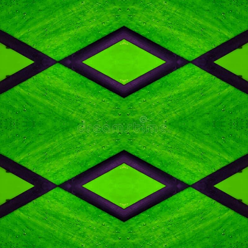 abstrakt design med målat glass i gröna färger, bakgrund och textur royaltyfri illustrationer