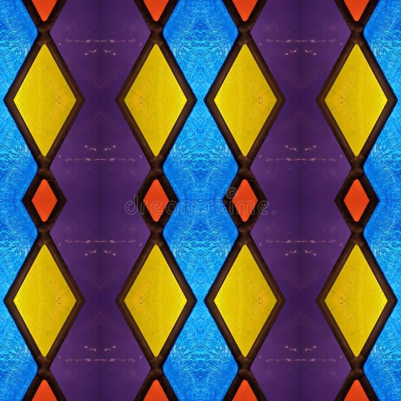 abstrakt design med målat glass i olika färger, material för garnering av fönster, bakgrund och textur stock illustrationer