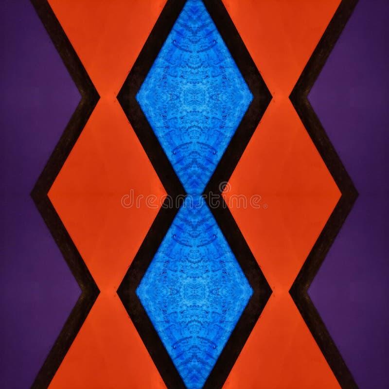 abstrakt design med målat glass i purpurfärgade, röda och blåa färger, material för garnering av fönster, bakgrund och textur vektor illustrationer