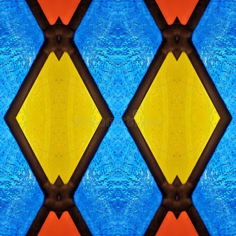 abstrakt design med målat glass i röda, blåa och gula färger, material för garnering av fönster, bakgrund och textur vektor illustrationer