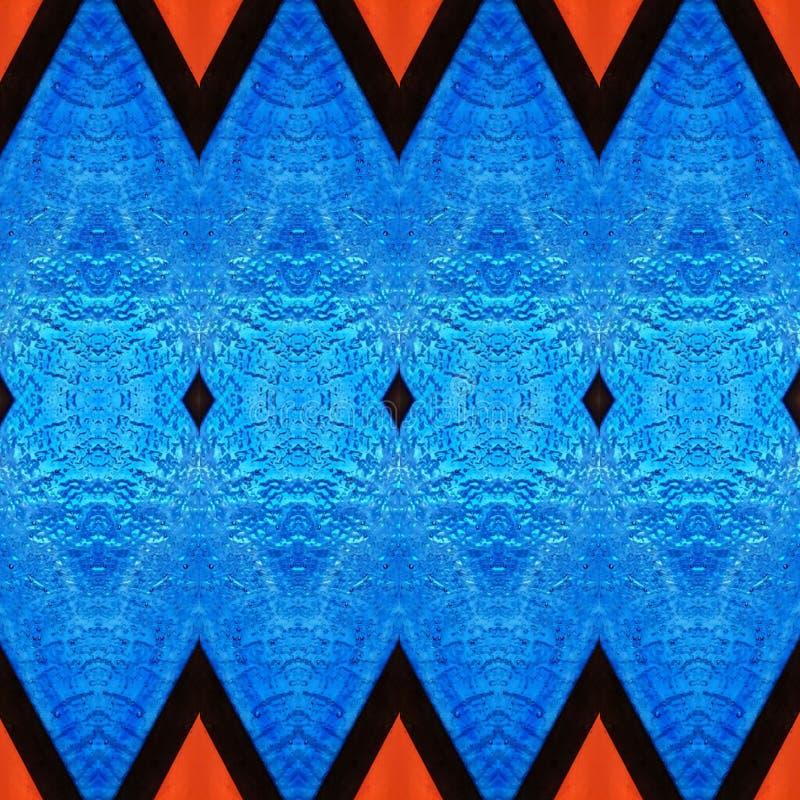 abstrakt design med målat glass i röda och blåa färger, material för garnering av fönster, bakgrund och textur stock illustrationer