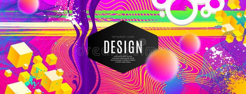 Abstrakt design med mångfärgade och för lutning olika former Vektorillustrationmall Universalabstrakt begreppdesign royaltyfri illustrationer