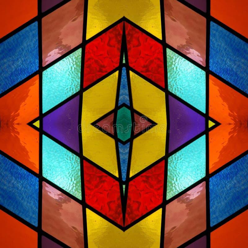 abstrakt design med m?lat glass i olika f?rger, material f?r garnering av f?nster, bakgrund och textur vektor illustrationer