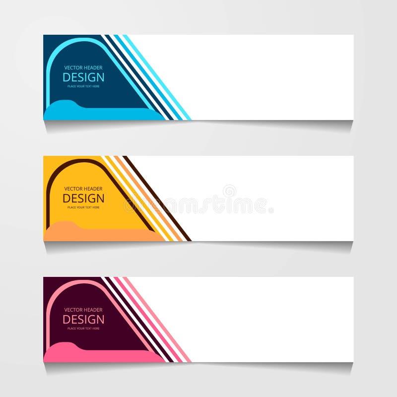 Abstrakt designbaner, rengöringsdukmall med tre olik färg, orienteringstitelradmallar, modern vektorillustration arkivbild