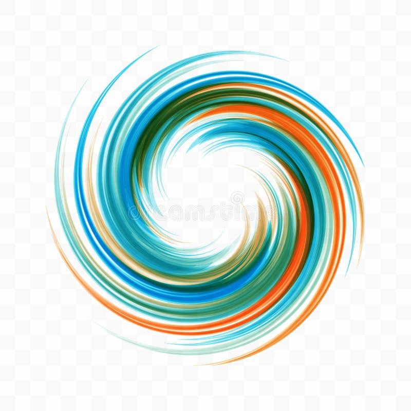 abstrakt designelementswirl Spiral, rotation och virvlande runt rörelse Vektorillustration med dynamisk effekt royaltyfri illustrationer