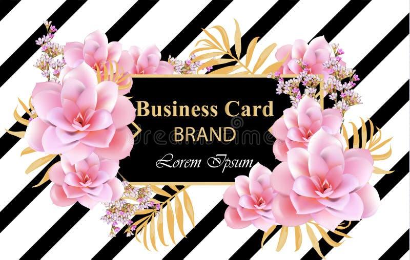 Abstrakt designkort med den delikata blommavektorn Bakgrund för affärskort, märkesbok eller affischer stock illustrationer