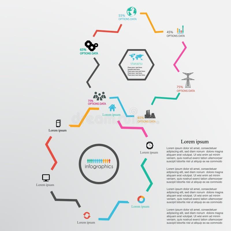 Abstrakt designmallbakgrund med kugghjulhjul och infogra royaltyfri illustrationer