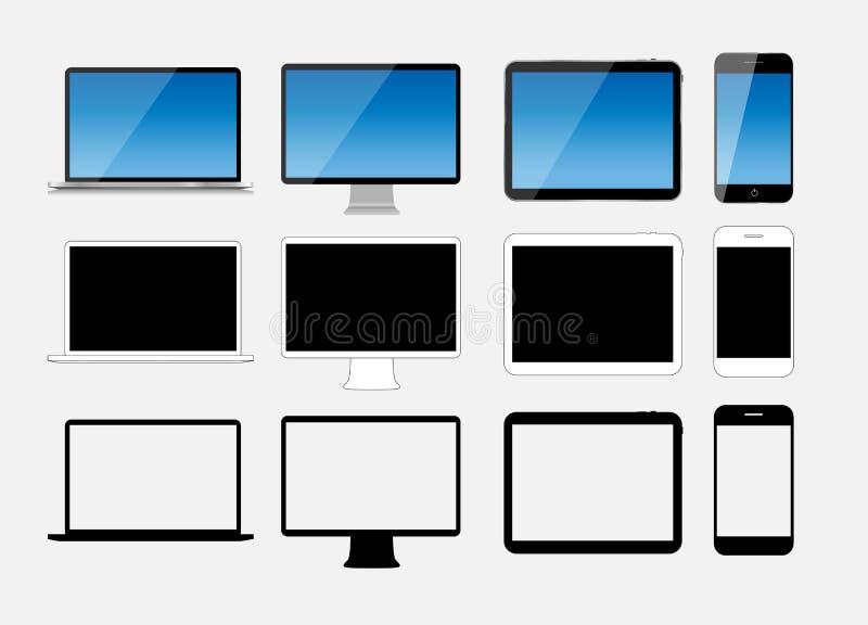 Abstrakt designmobiltelefon-, bärbar dator- och minnestavlaPC. Vektor Illus royaltyfri illustrationer