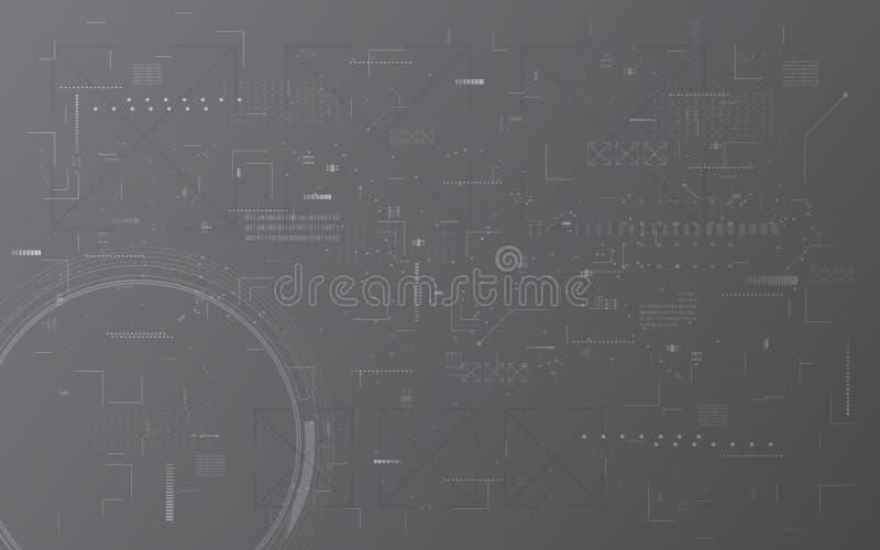 Abstrakt digital bakgrund för begrepp för design för montage för modell för textur för techkommunikationsdator stock illustrationer