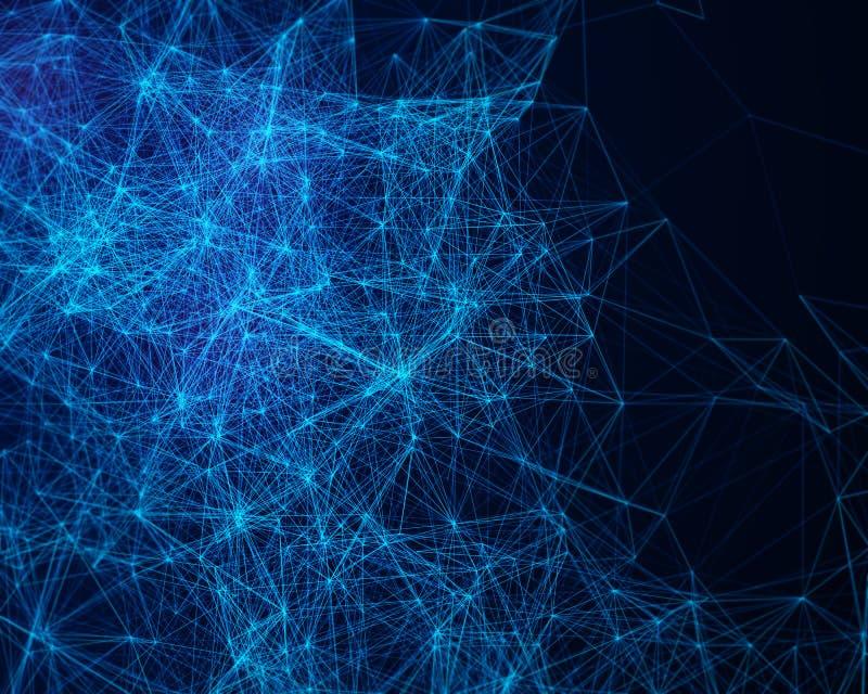 Abstrakt digital bakgrund med cybernetic partiklar royaltyfri illustrationer