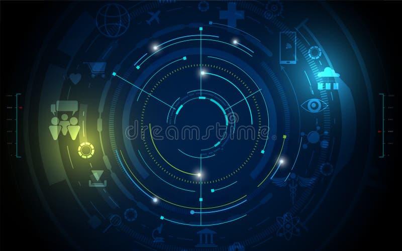 Abstrakt digital begreppsbakgrund för hög tech stock illustrationer