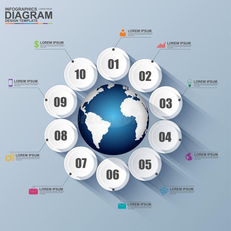 Abstrakt digital cirkel för affär 3D Infographic royaltyfri illustrationer